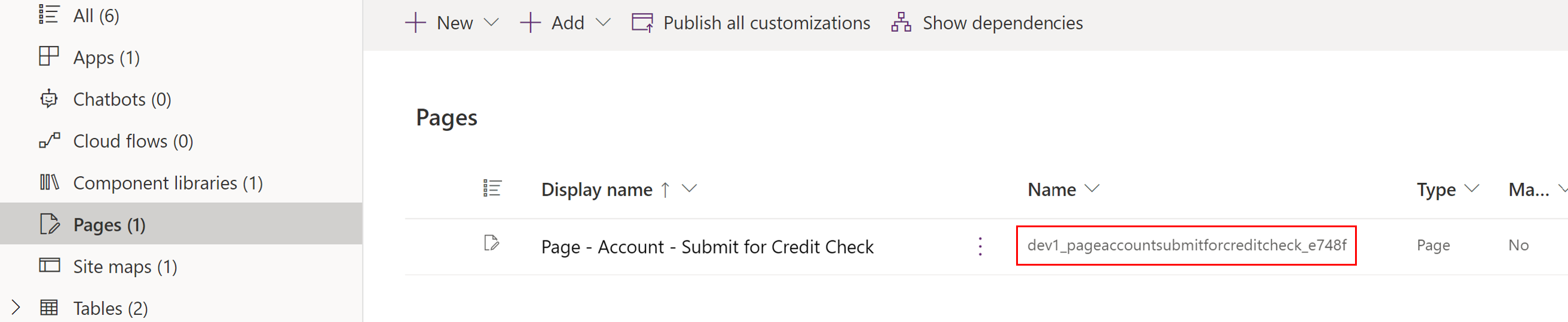 Custom Page Unique Name